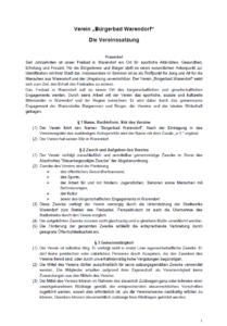 Satzung für die Mitgliedschaft