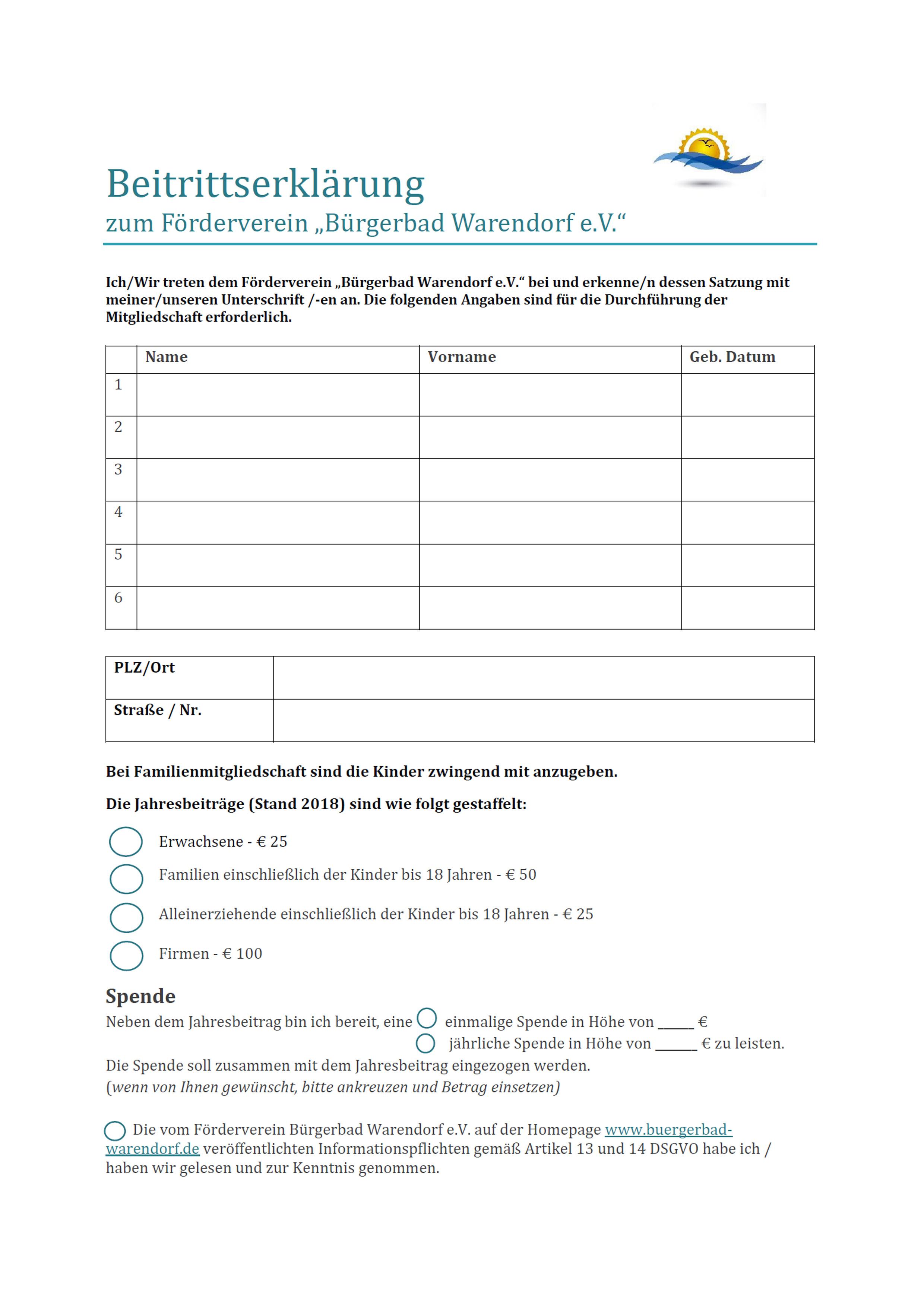Beitrittserklärung für die Mitgliedschaft